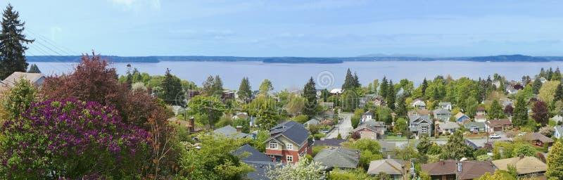 Vista sopra il neighboorhood a Seattle ad ovest. WA. immagine stock