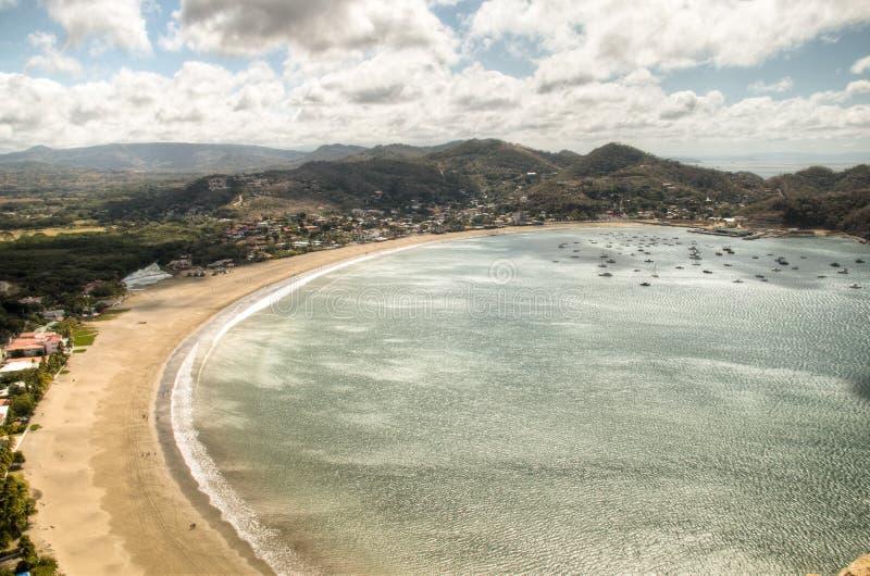 Vista sopra la baia di San Juan del Sur, Nicaragua fotografia stock