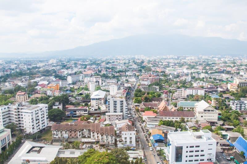 Vista sopra la città in Changmai alla Tailandia fotografia stock libera da diritti