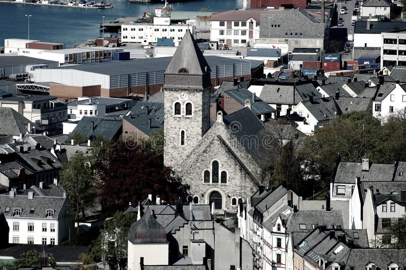 Vista sopra la città del lesund di Ã…, Norvegia immagine stock