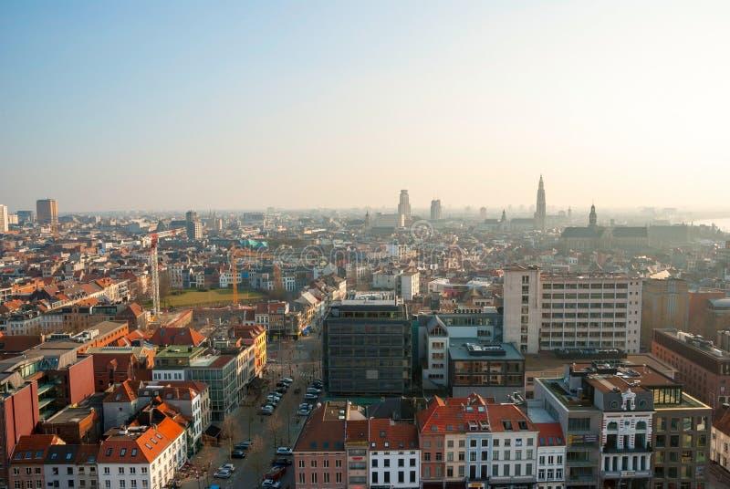 Vista sopra la città di Anversa, Belgio immagini stock libere da diritti