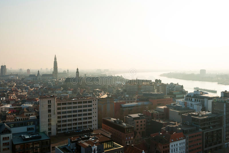 Vista sopra la città di Anversa, Belgio immagine stock libera da diritti