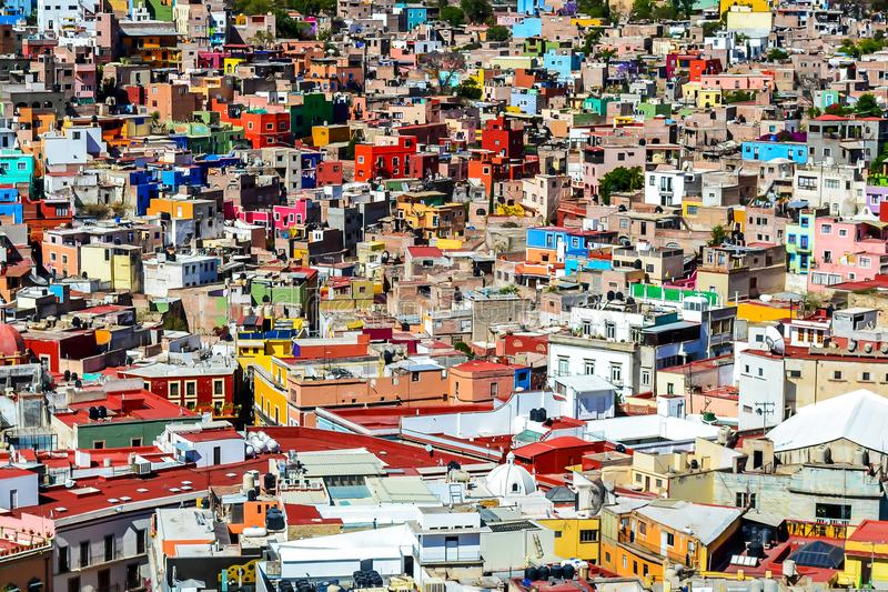 Vista sopra la città di Guanajuato, Messico immagini stock libere da diritti