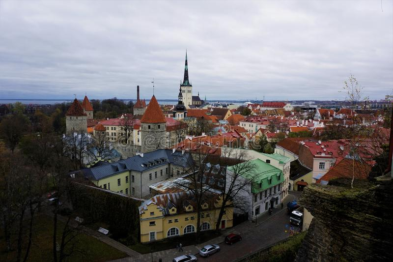 Vista sopra la parte di vecchia città di Tallinn immagine stock libera da diritti