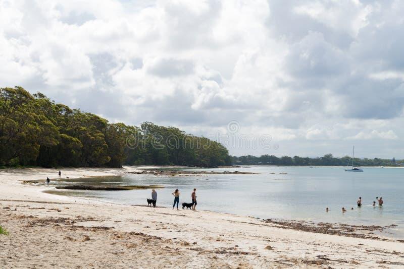 Vista sopra la spiaggia in Jervis Bay Marine Park, città di Huskisson, NSW, Australia, una piccola città costiera nota come ingre fotografie stock libere da diritti
