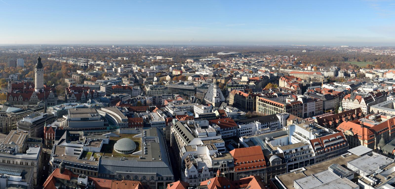 Vista sopra Lipsia, Germania immagine stock libera da diritti