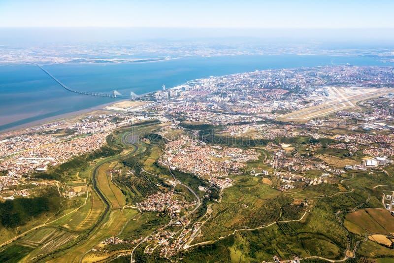 Vista sopra Lisbona - vista aerea fotografie stock