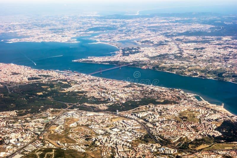 Vista sopra Lisbona - vista aerea immagini stock libere da diritti