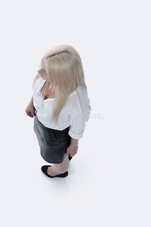 Vista sopra Riuscita donna di affari Foto nella piena crescita immagine stock