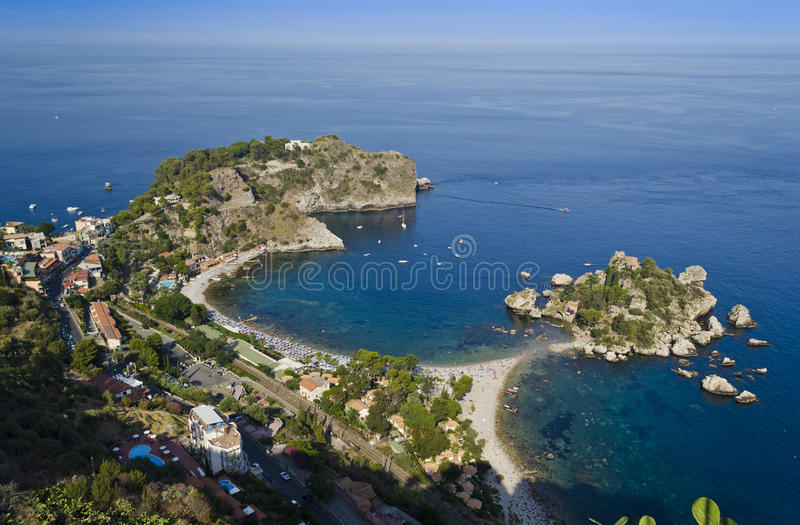 Vista sopra Taormina - la Sicilia, Italia fotografie stock libere da diritti