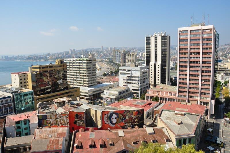 Vista sopra Valparaiso, nel Cile immagine stock libera da diritti