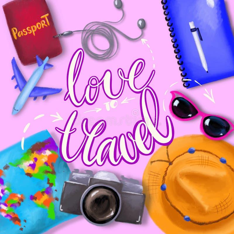 Vista sopraelevata degli accessori del ` s del viaggiatore, oggetti essenziali di vacanza, fondo di concetto di viaggio royalty illustrazione gratis
