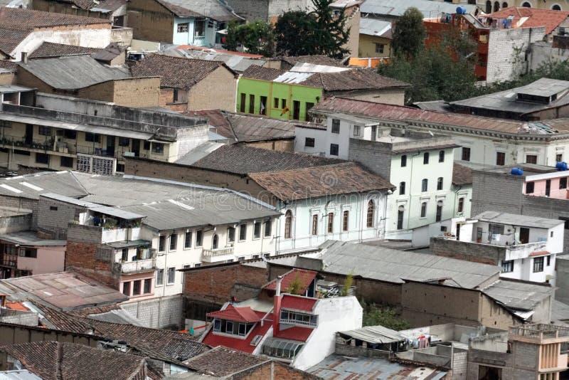Vista sopraelevata di Città Vecchia, Quito, Ecuador fotografia stock