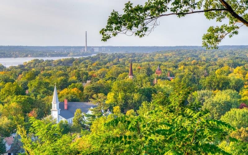 Vista sopraelevata di Hudson, Wisconsin immagini stock libere da diritti