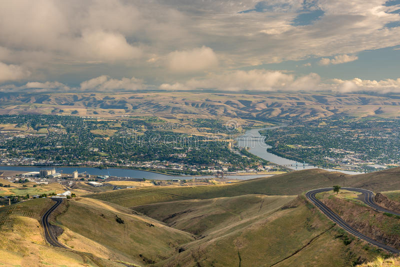Vista sopraelevata di Lewiston Idaho con i girovaghi fotografie stock libere da diritti