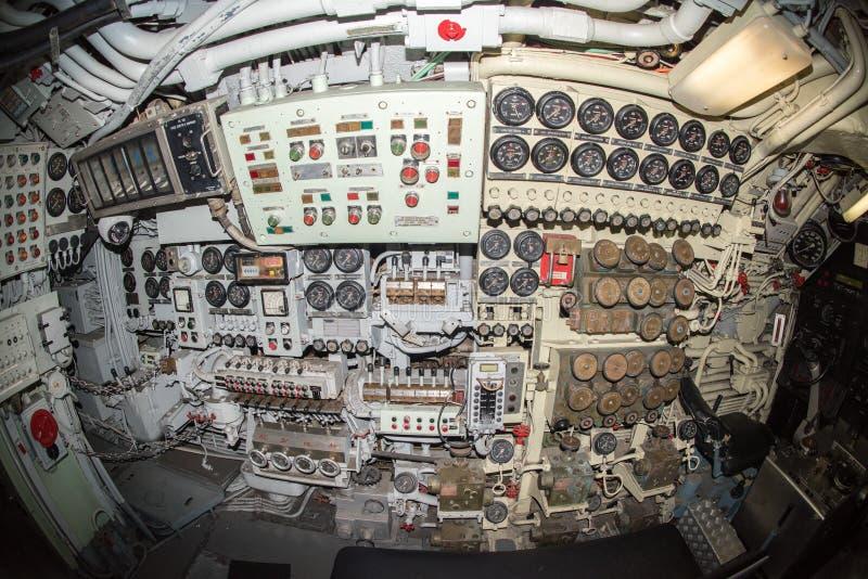 Vista sottomarina dell'interno della sala di controllo fotografia stock libera da diritti