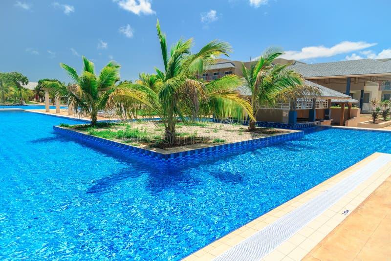 Vista splendida d'invito della piscina, dell'acqua azzurrata del turchese tranquillo e del giardino tropicale fotografia stock libera da diritti