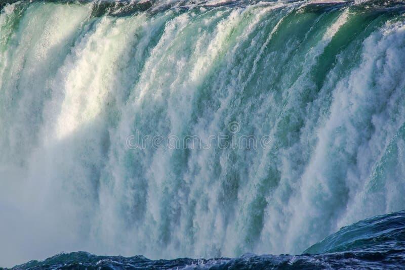 Vista splendida del paesaggio di cascate del Niagara Brontolio delle onde contro la riva rocciosa immagini stock