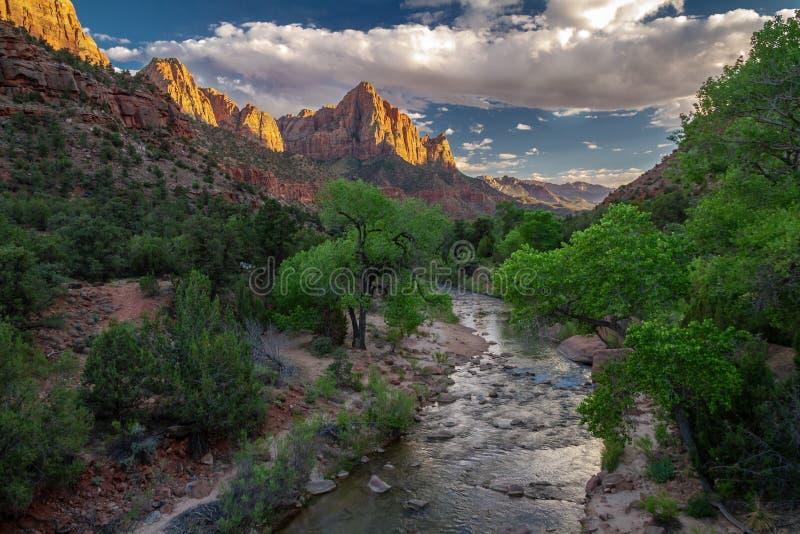 Vista splendida della molla di ` la formazione rocciosa del ` della guardia notturna ed il fiume di Zion National Park nell'Utah immagini stock libere da diritti