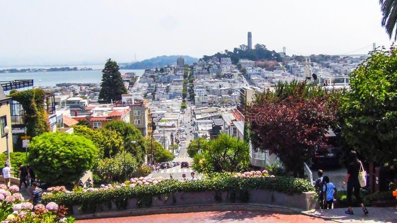 Vista splendida sopra il lombardo Francisco di san del paesaggio e della via di San Francisco fotografia stock