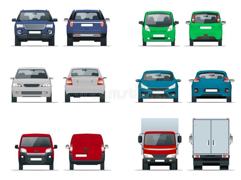Vista stabilita delle automobili di vettore anteriore e posteriore Berlina, fuori strada, compatta, camion del carico, veicoli in royalty illustrazione gratis