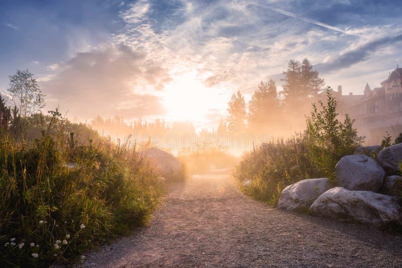 Vista strabiliante del lago alpino ad alba, paesaggio nebbioso di estate, lago Strbske Pleso, alto Tatras, Slovacchia della stazi fotografie stock