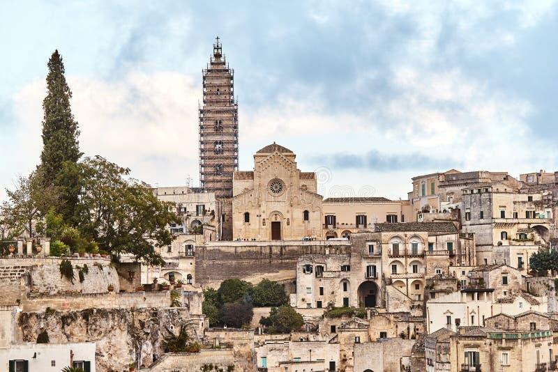 Vista strabiliante della città antica di Matera, Italia del sud fotografie stock