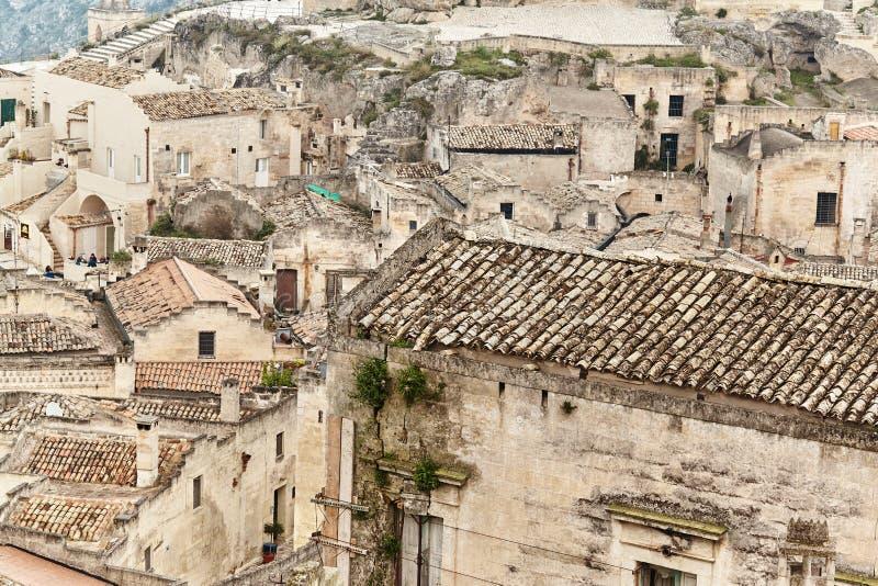 Vista strabiliante della città antica di Matera, Italia del sud fotografie stock libere da diritti