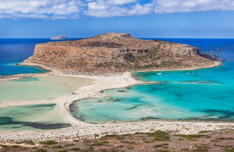 Vista stupefacente della baia di Balos sull'isola di Creta, Grecia immagine stock