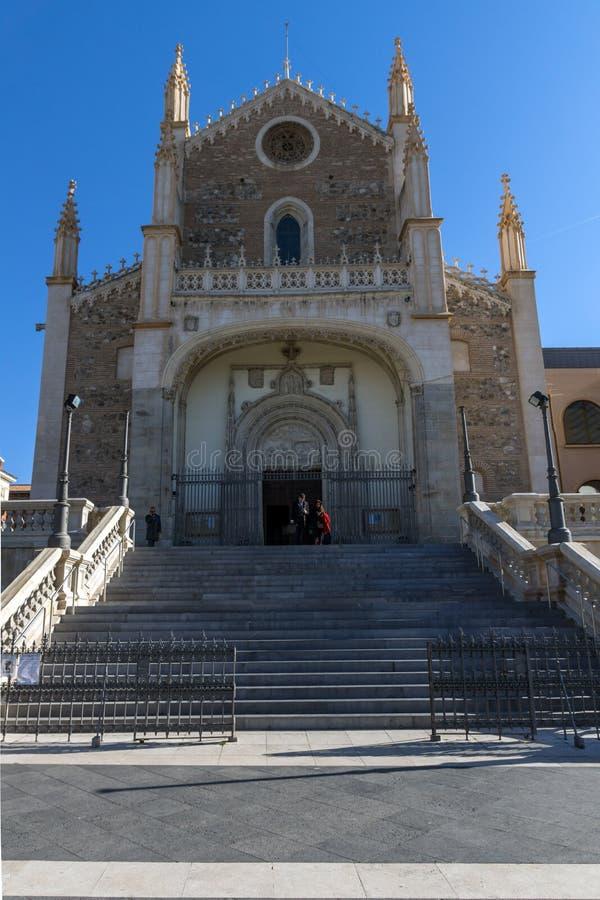 Vista stupefacente della chiesa di San Jeronimo el Rea in città di Madrid, Spagna fotografia stock