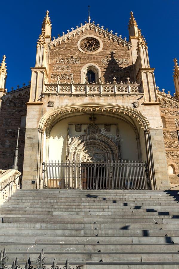 Vista stupefacente della chiesa di San Jeronimo el Rea in città di Madrid, Spagna immagine stock libera da diritti