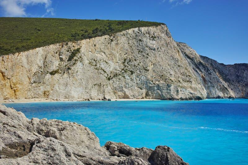 Vista stupefacente della spiaggia di Oporto Katsiki, Leucade, Grecia immagine stock libera da diritti