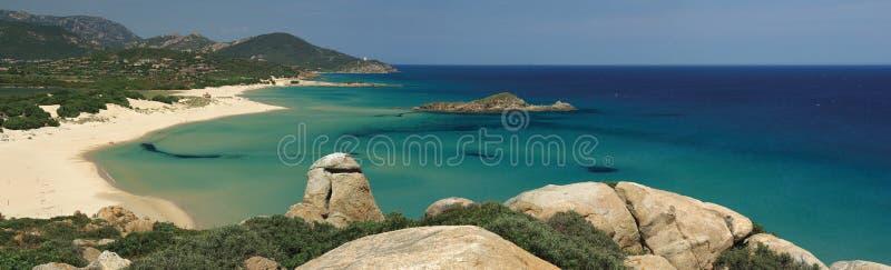Vista stupefacente - spiaggia di Chia - la Sardegna immagine stock
