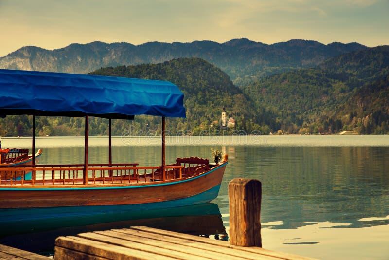 Vista stupefacente sul lago sanguinato Primavera o estate in Slovenia fotografia stock libera da diritti