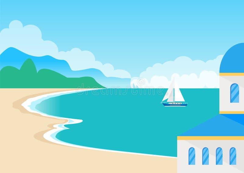 Vista su bello Sandy Beach e su vista sul mare sveglia illustrazione di stock