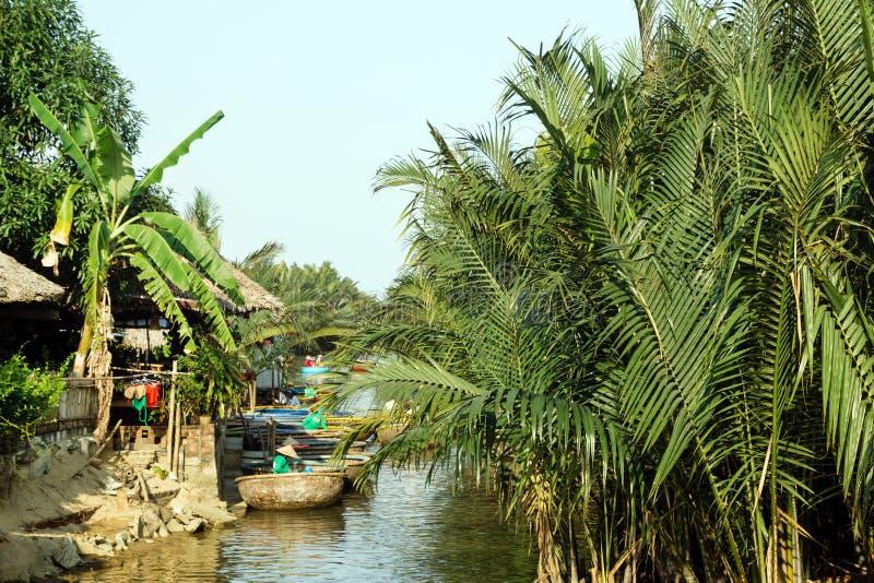 Vista su un fiume con le barche rotonde vietnamite tradizionali fra gli alberi del cocco fotografia stock