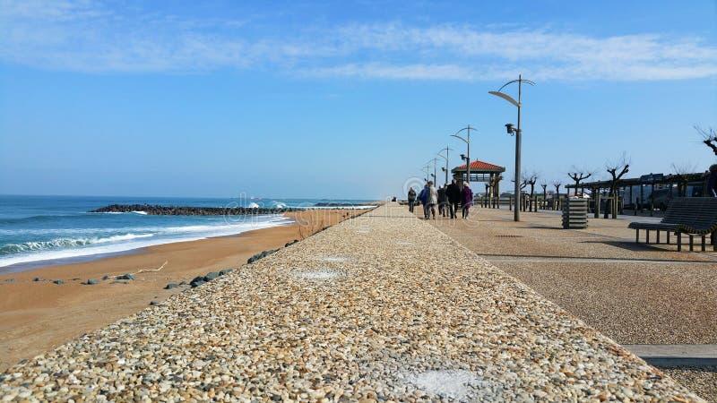 Vista su una spiaggia in Anglet, a sud della Francia fotografia stock libera da diritti