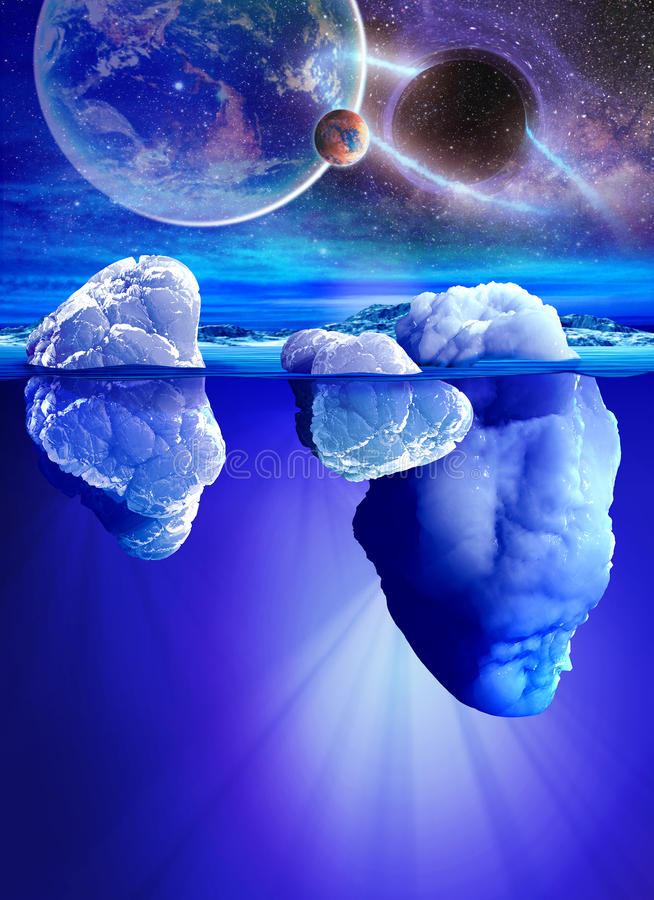 Vista subacquea dell'iceberg con il bello mare trasparente e dei pianeti su fondo royalty illustrazione gratis