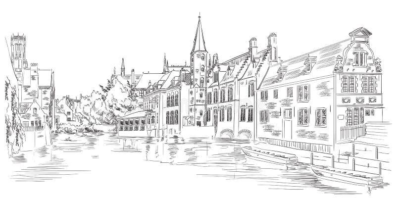 Vista sul canale dell'acqua di Rozenhoedkaai a Bruges, Belgio, Europa illustrazione vettoriale