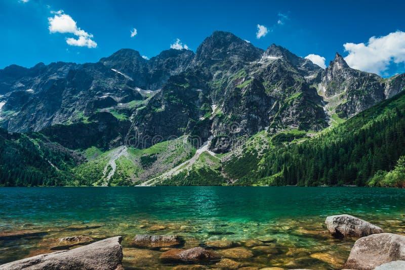 Vista sul lago di colore del turchese fra le alte e montagne rocciose fotografie stock