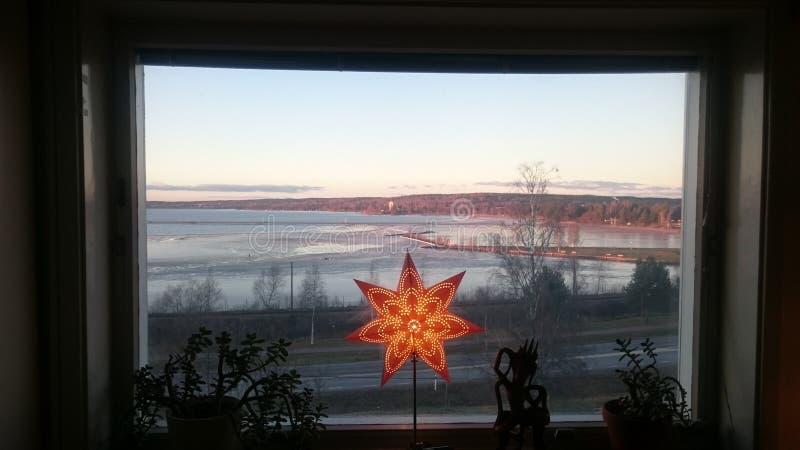 Vista sul lago Siljan fotografia stock