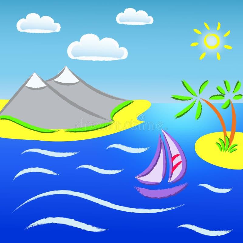 Vista sul mare royalty illustrazione gratis
