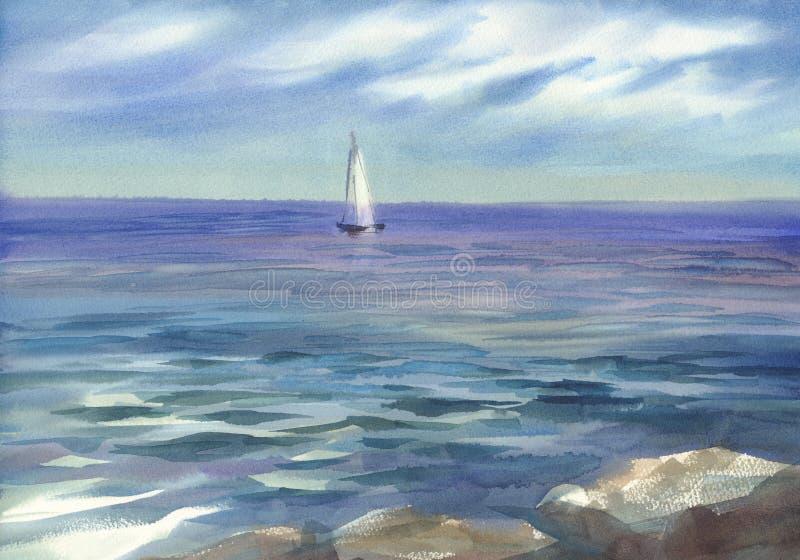 Vista sul mare blu con un fondo dell'acquerello della vela illustrazione di stock