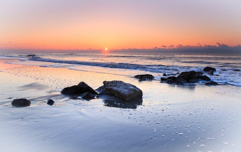 Vista sul mare Carolina del Sud di alba dell'oceano fotografia stock libera da diritti