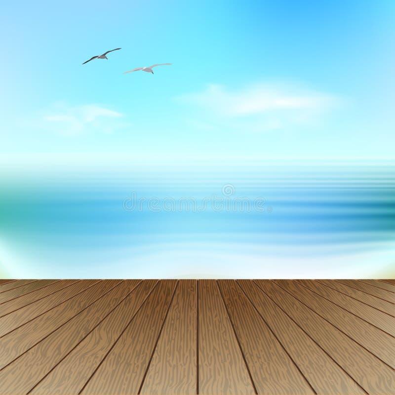 Vista sul mare con i gabbiani royalty illustrazione gratis