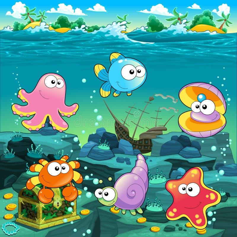 Vista sul mare con il tesoro, il galeone ed il pesce. illustrazione vettoriale