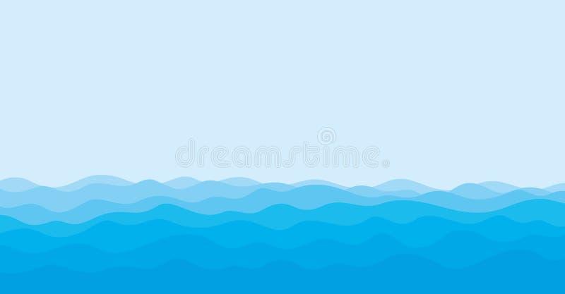 Vista sul mare con l'onda blu illustrazione di stock