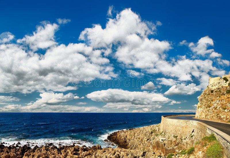 Vista sul mare dalla fortezza antica immagine stock