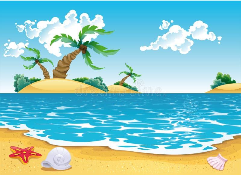 Vista sul mare del fumetto illustrazione di stock