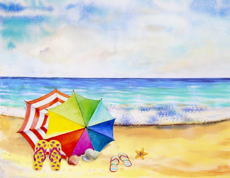 Vista sul mare dell'acquerello che dipinge variopinta della vista del mare illustrazione vettoriale